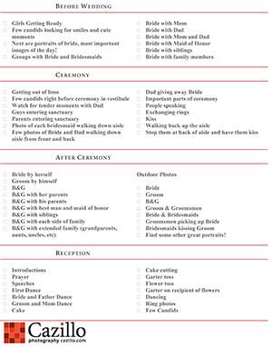 Download Wedding Photography Checklist